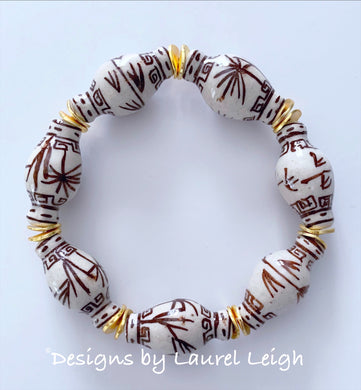 Chinoiserie Ginger Jar Beaded Bracelet - Brown & White