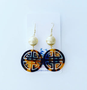 Chinoiserie Longevity Symbol Tortoise Shell Earrings