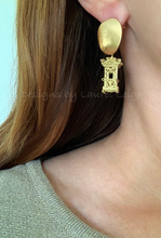 Load image into Gallery viewer, Chinoiserie Gold Pagoda Earrings - Posts - Designs by Laurel Leigh
