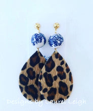 Load image into Gallery viewer, Chinoiserie FAUX Leather Leopard Print Statement Earrings - Designs by Laurel Leigh