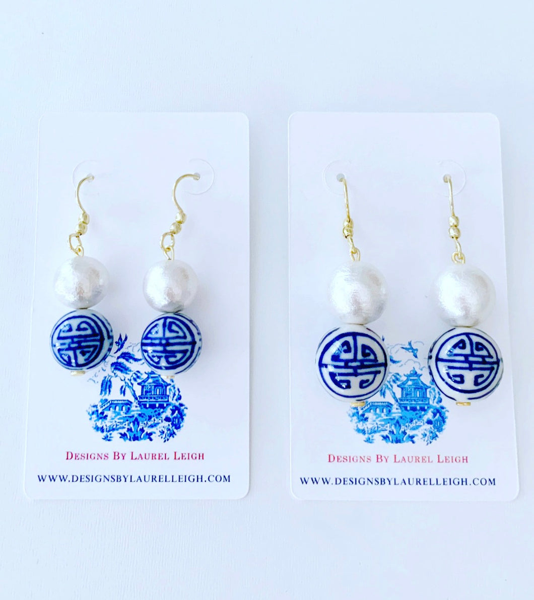 Chinoiserie Longevity Symbol Cotton Pearl Drop Earrings - 2 Sizes - Ginger jar
