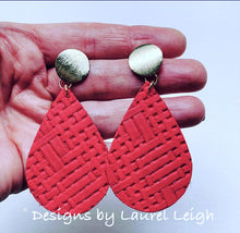 Load image into Gallery viewer, Gold and Red Leather Basketweave Statement Earrings - Posts - Designs by Laurel Leigh