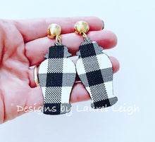 Load image into Gallery viewer, Chinoiserie Chic Ginger Jar Earrings- Buffalo Check Faux Leather - Ginger jar