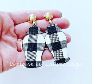 Chinoiserie Chic Ginger Jar Earrings- Buffalo Check Faux Leather - Ginger jar