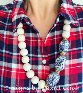 Blue and White Chinoiserie Chunky Statement Necklace - Ginger jar