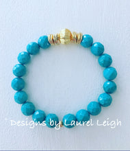 Load image into Gallery viewer, Turquoise and Gold Beaded Bracelet - Ginger jar