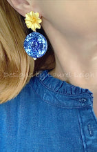 Load image into Gallery viewer, Blue & White Chinoiserie Coin Earrings with Gold Floral Posts - 2 Options - Ginger jar