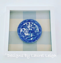 Load image into Gallery viewer, Blue Willow Gingham Chinoiserie Framed Shadow Box Art - Ginger jar