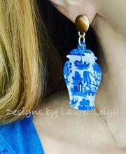 Load image into Gallery viewer, Ginger Jar Chinoiserie Earrings - Pink Willow or Blue Willow - Ginger jar