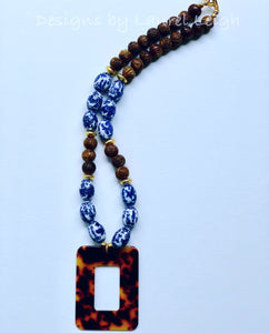 Blue and White Chinoiserie Vintage Bead Statement Necklace w/ Tortoise Shell Pendant - Designs by Laurel Leigh
