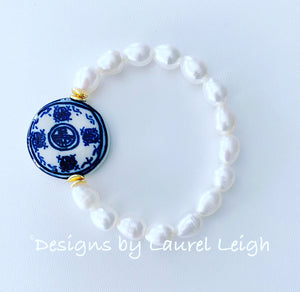 Chinoiserie Coin Bead & Freshwater Pearl Bracelet - White or Peacock Pearls