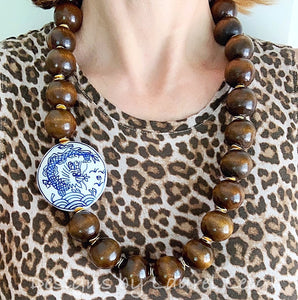 Chunky Long Chinoiserie Dragon Pendant Statement Necklace - Brown - Ginger jar