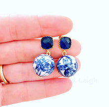 Load image into Gallery viewer, Blue & White Chinoiserie Orchid & Sapphire Earrings - Ginger jar