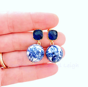 Blue & White Chinoiserie Orchid & Sapphire Earrings - Ginger jar