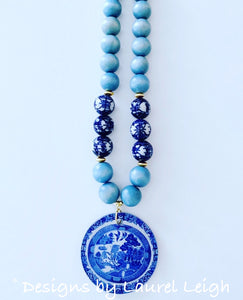 Blue Willow Chinoiserie Double Happiness Pendant Statement Necklace - Light Blue - Ginger jar