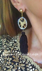 Leopard Print Slinky Tassel Statement Earrings - Black - Ginger jar
