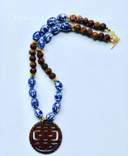 Load image into Gallery viewer, Blue and White Chinoiserie Vintage Bead Statement Necklace w/ Double Happiness Pendant - Designs by Laurel Leigh