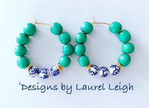 Green Chinoiserie Beaded Hoop Earrings