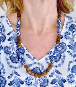 Brown Carved Horn Chinoiserie Beaded Statement Necklace - Ginger jar
