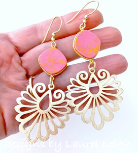 Gold Filigree & Pink Jasper Gemstone Drop Earrings - Ginger jar
