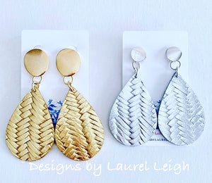 Leather Basketweave Statement Earrings - Gold or Silver - Designs by Laurel Leigh