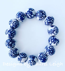 Blue and White Chinoiserie Peony Flower Beaded Statement Bracelet - Ginger jar