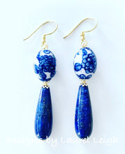 Load image into Gallery viewer, Blue & White Chinoiserie Lapis Teardrop Earrings - Ginger jar