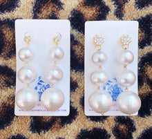 Load image into Gallery viewer, Rhinestone & Graduated Cotton Pearl Bonbon Drop Earrings - 2 Styles