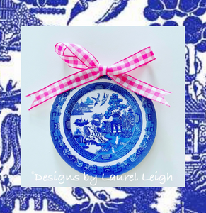 "Blue Willow Plate Christmas Ornament- 3"" - Pick Ribbon"