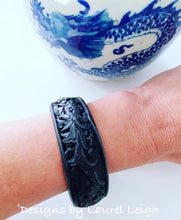 Load image into Gallery viewer, Chinoiserie Dragon Bangle Bracelet - Ivory & Black - Ginger jar