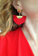 Load image into Gallery viewer, Red Fan Tassel & Jade Floral Post Earrings - Ginger jar