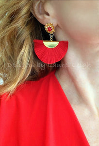 Red Fan Tassel & Jade Floral Post Earrings - Ginger jar