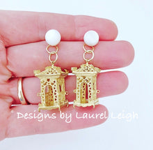 Load image into Gallery viewer, Chinoiserie Gold & Pearl Pagoda Earrings - Two Styles - Ginger jar