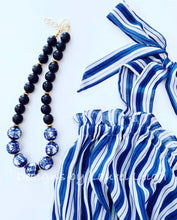 Load image into Gallery viewer, Blue and White Double Happiness Chinoiserie Chunky Statement Necklace - Black - Ginger jar