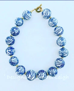 Blue and White Chunky Chinoiserie Symbol Statement Necklace - Two Bead Options - Ginger jar