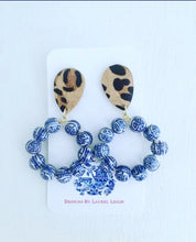 Load image into Gallery viewer, Chinoiserie Beaded Hoops w/ Leather Leopard Print Posts - 2 Styles - Ginger jar