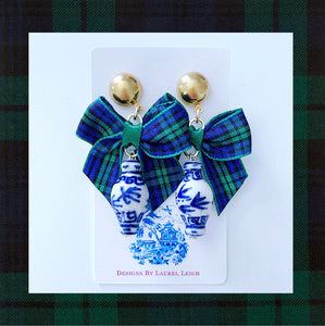 Blue and White Chinoiserie Ginger Jar Earrings with Black Watch Tartan Plaid Bows