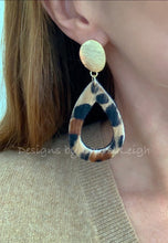 Load image into Gallery viewer, Gold and Leather Leopard Print Cutout Teardrop Earrings - Posts - Ginger jar