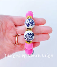 Load image into Gallery viewer, Chunky Blue and White Chinoiserie Peony Statement Bracelet- Bright Bubblegum Pink