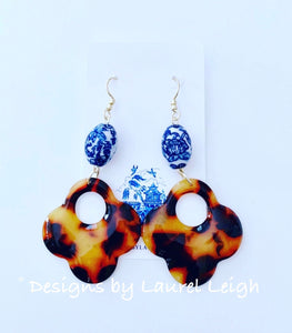 Chinoiserie Ginger Jar Tortoise Shell Flower Statement Earrings - 2 Styles - Ginger jar