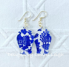 Load image into Gallery viewer, Ginger Jar Chinoiserie Earrings (Small) - Blue Willow, Pink Willow & Gingham - Ginger jar