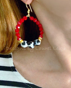 Red, Black & White Game day Beaded Hoop Earrings - Ginger jar