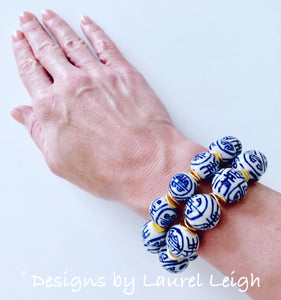 Blue & White Chinoiserie Longevity Bead Bracelet- 2 Sizes - Ginger jar