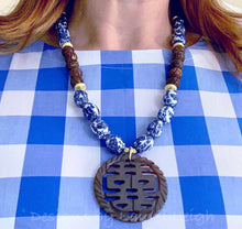Load image into Gallery viewer, Blue and White Chinoiserie Vintage Bead Statement Necklace w/ Double Happiness Pendant - Ginger jar