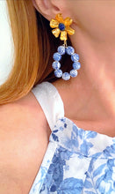 Load image into Gallery viewer, Oval Lapis Floral Chinoiserie Statement Earrings - Ginger jar