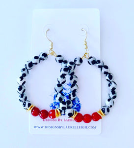 Red, Black & White Game day Beaded Hoop Earrings - 2 Styles - Ginger jar