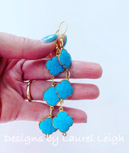 Load image into Gallery viewer, Turquoise Quatrefoil Gemstone Earrings - Triple Drop - Ginger jar