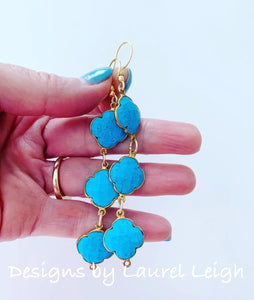 Turquoise Quatrefoil Gemstone Earrings - Triple Drop - Ginger jar