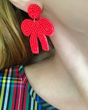 Load image into Gallery viewer, Seed Bead Bow Earrings- 4 Colors - Ginger jar