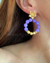 Load image into Gallery viewer, Lavender & Gold Dogwood Blossom Floral Post Hoop Earrings - Ginger jar
